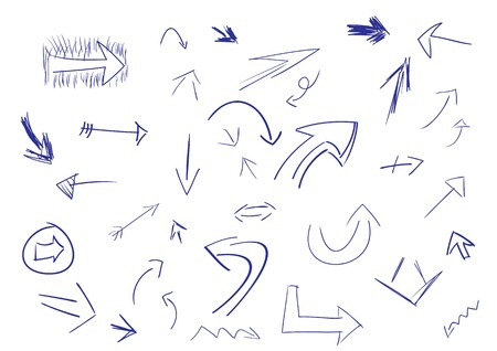 arrow left icon: Collection of hand drawn doodle style arrows in various directions and styles. Illustration