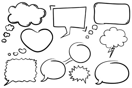 мысль: Collection of hand drawn comic book style chat bubbles. Иллюстрация