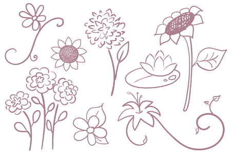 Collection of hand drawn  flowers.