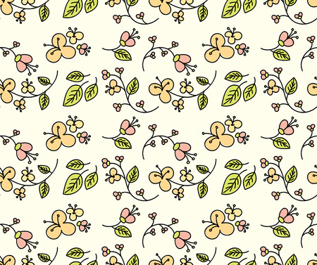 Seamless  pattern with flowers and nature motif.