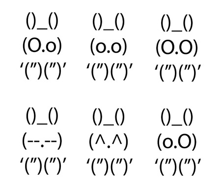 Collection of cute ascii bunnies with different expressions. Illustration