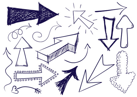 Collection of hand drawn doodle style arrows in various directions and styles. Vector