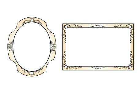 Set of 2 Detailed Baroque-Style Frames Vector