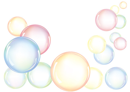 An arrangement of colorful soap bubbles floating in the air Illustration