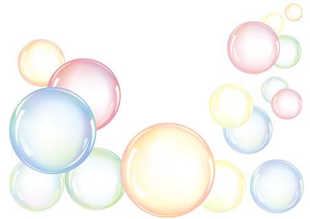 Un accordo di bolle di sapone colorate galleggianti in aria