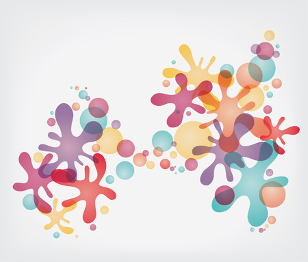 Colorful splash shapes and bubbles Illustration