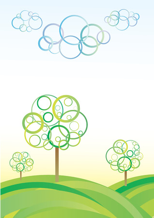 Cute abstract meadow background with circle trees and clouds
