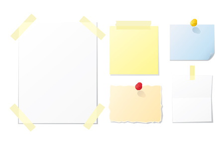 binder clip: Collection of blank notes and papers for your design Illustration