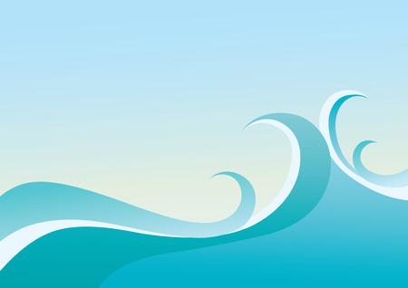 vague ocean:  fond de mer avec r�sum� �claboussures de vagues Illustration