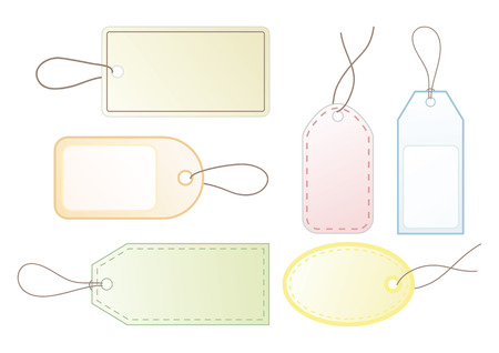 Collection of six blank price tags for your design.