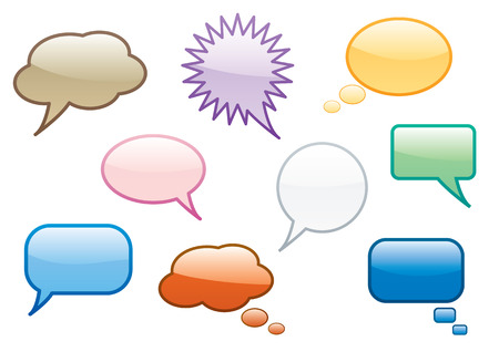 Collection of fun colorful chat or speech bubbles.