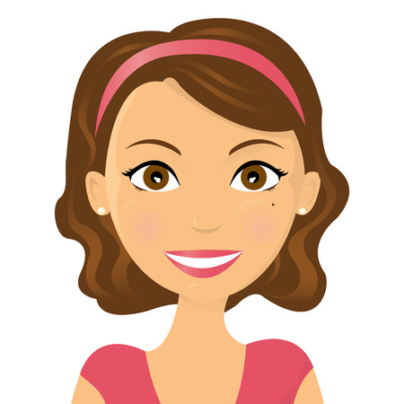 single woman: Cute illustration of a smiling woman