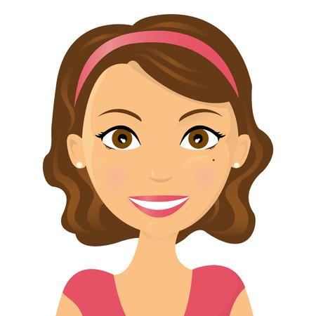 caras felices: Cute ilustraci�n de una mujer sonriente