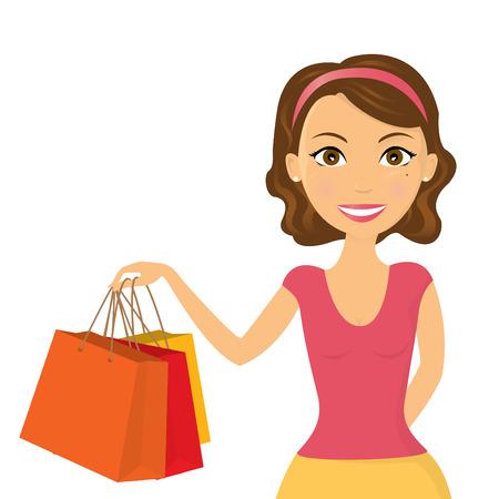 mujer en el supermercado: Ilustración una mujer joven que felizmente de compras