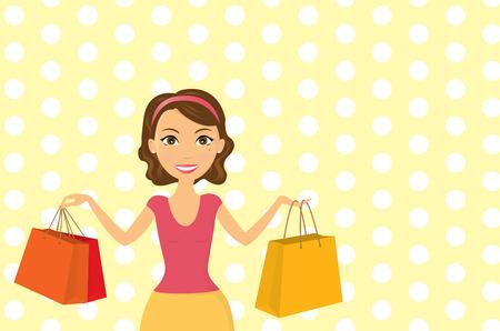Ilustración una mujer joven que felizmente de compras