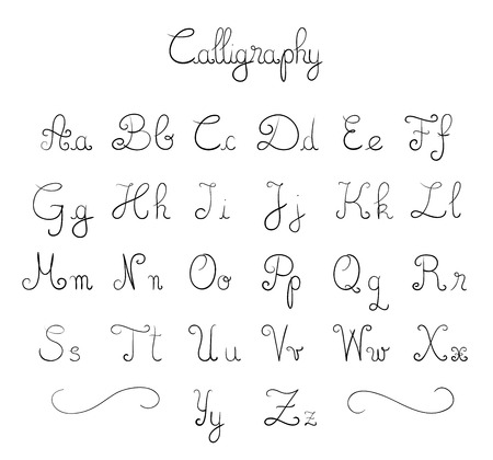 written text: Hand drawn calligraphic font