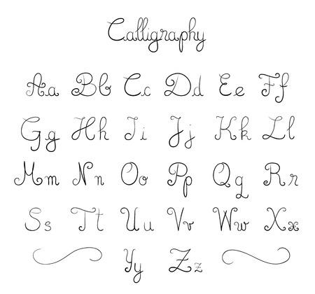 Hand getekende kalligrafische letter type  Vector Illustratie