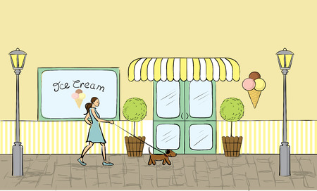 shop window display: Ice cream store front view  Illustration