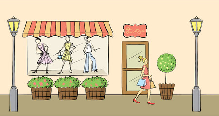 fashion boutique: Clothes shop front view  Illustration
