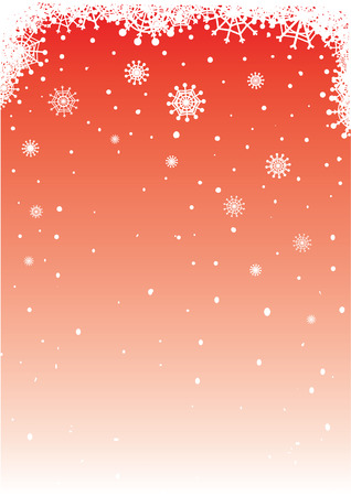Red vector background with falling snowflakes for christmas designs.