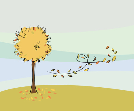Vector tree with leaves falling in autumn Stock Vector - 7974482