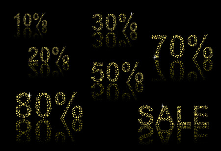 Collection of discount numbers made out of golden stars.