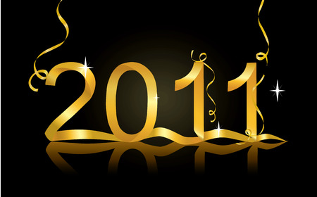 fin de a�o: Decoraci�n de vector de v�spera de a�o nuevo para 2011