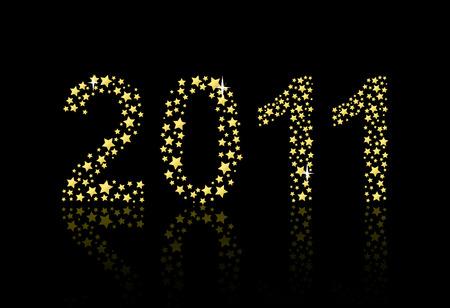 fin de a�o: Decoraci�n de vector de fin de a�o para 2011 hecha de estrellas