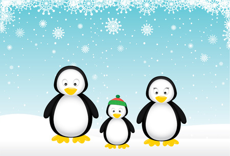 Penguin family wishes you a Merry Christmas. Vector