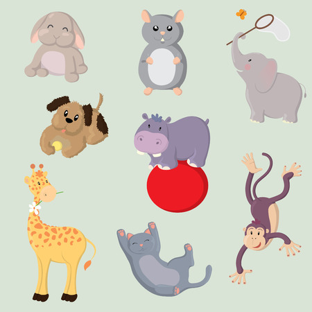 Collection of cute vector animals Vector