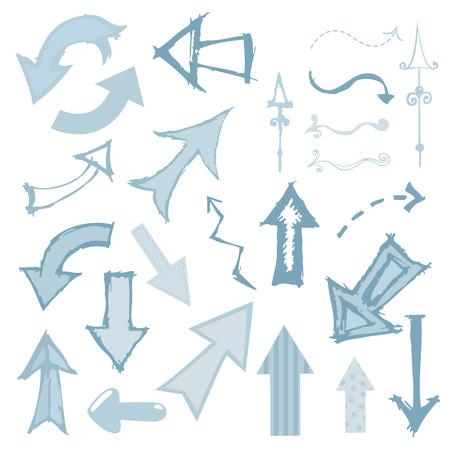 cool down: Mundo art�stico conjunto de flechas en un estilo incompletos.