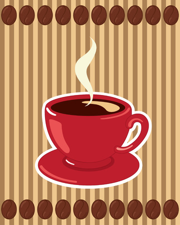 Stylish coffee cup on a striped background with coffee beans.