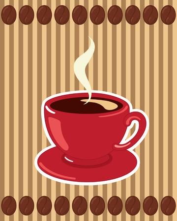 hot chocolate drink: Taza de caf� con estilo en un fondo de rayas con granos de caf�.
