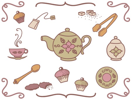 Set of tea related elements