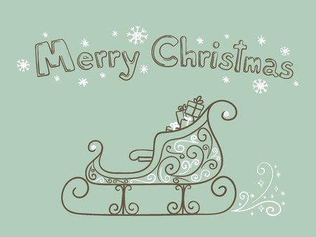 Hand drawn vector sleigh with gifts and  Vector