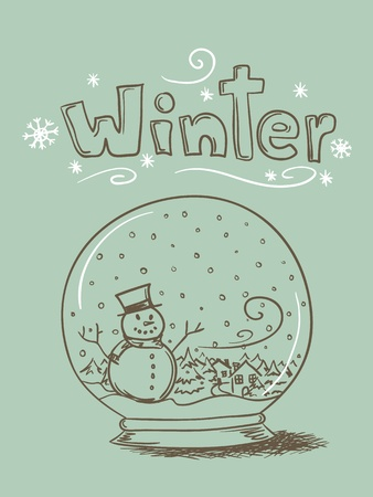 Hand drawn snow globe with snowman and trees and  Vector