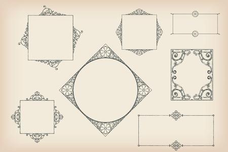 High detail vector frames in a retro style Vector