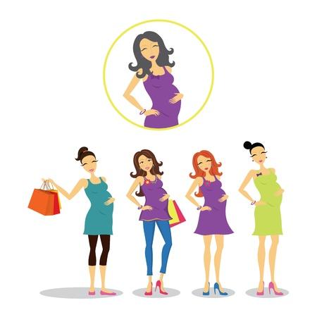 mujeres embarazadas: Las mujeres embarazadas en diferentes estilos.