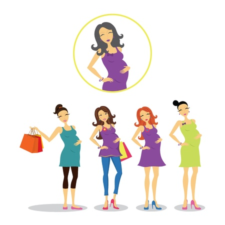 Pregnant women in different styles. Vector