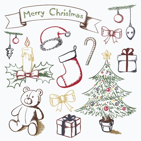 Christmas themed set of vector drawings. Illustration