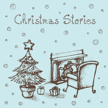 christmas room: Hand sketched illustration of kid reading stories by the fireplace.