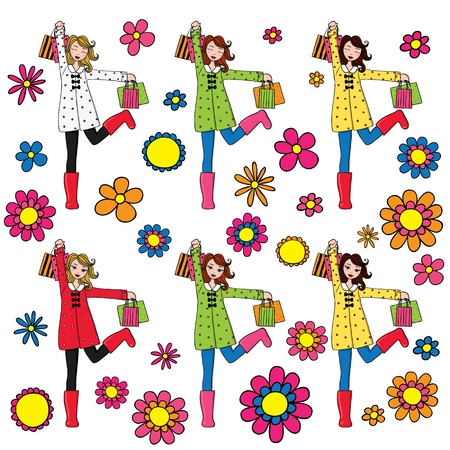 Set of cute women with shopping bags wearing spring clothing.Different color versions.