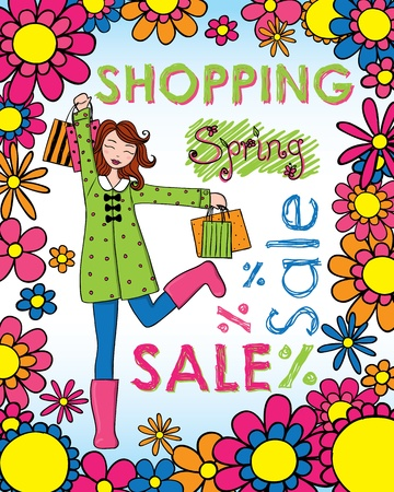 Cute woman with shopping bags wearing spring clothing. Vector