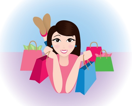 Pretty woman surrounded by shopping bags. Ilustrace