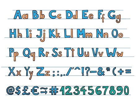 abc blocks: Hand drawn doodle style font with colorful letters. Illustration