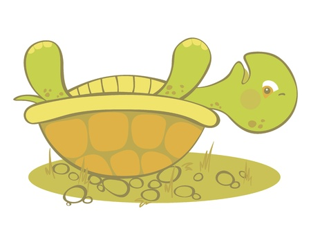 Leuke schildpad vast te zitten op zijn schelp. Vector Illustratie