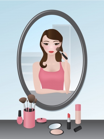 Vector illustration of a girl doing her makeup in the mirror. Vector