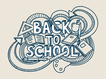 back icon: Back to school doodle.