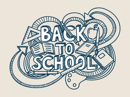 Regreso a la escuela doodle. Ilustración de vector