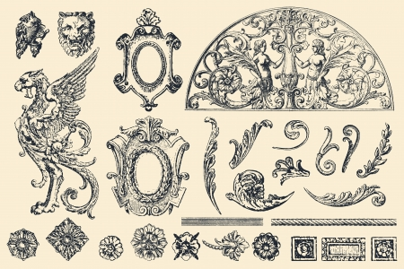 Set of hand drawn vector retro ornaments and design elements